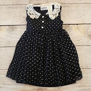 18 months Vintage Style Navy Blue dress with lace